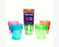 4 oz Bomber Cups. Assorted Neon Soft Plastic 20 ct-NWEN492