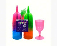 2 pc 5.5 oz Wine Glasses. Assorted Neon 20 ct-NWEN52090