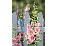 Bluebirds & Hollyhocks 1000 pc Puzzle-OM80009