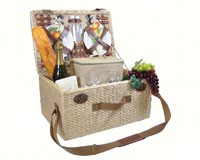 Deluxe Four Person Picnic Basket with Tan Floral/Fruits lining-PRIME6035REUNIO
