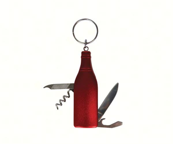 Red Wine Bottle Multi-Tool Key Chain PBE201