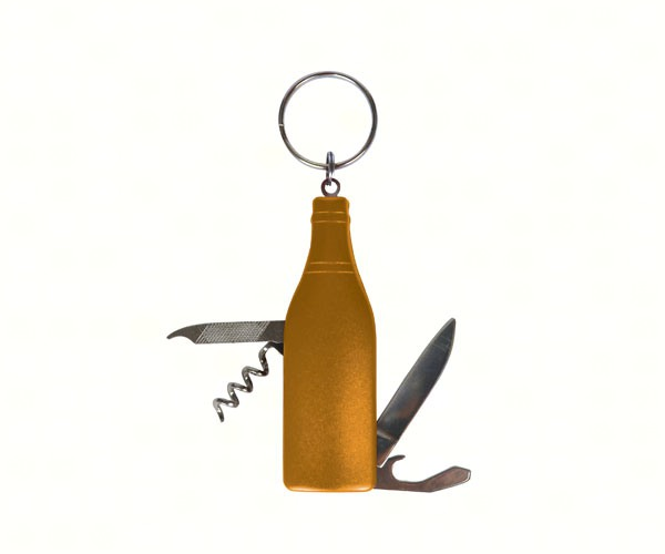 Gold Wine Bottle Multi-Tool Key Chain PBE202