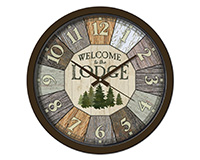 Welcome to the Lodge 15 inch Decorative Clock-RAI29305