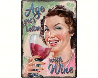 Age Gets Better with Wine Tin Sign 12x17-REP1443