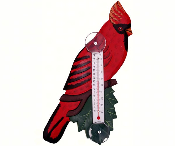 Cardinal on Branch Small Window Thermometer