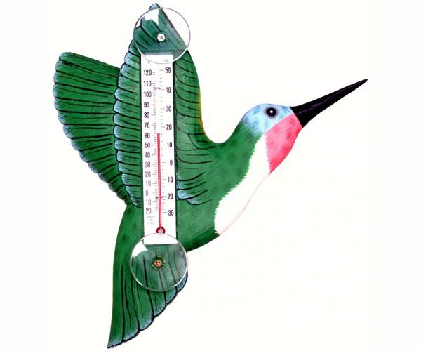 Green Hummingbird Small Window Thermometer