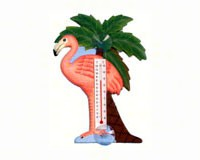 Flamingo and Palm Tree Small Window Thermometer-SE2170711