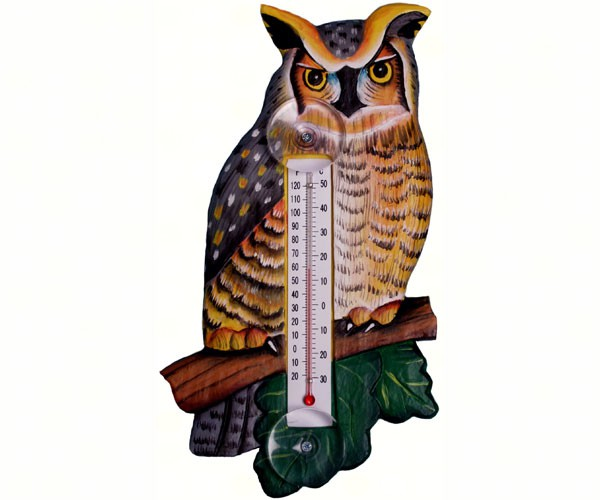 Great Horned Owl Small Window Thermometer