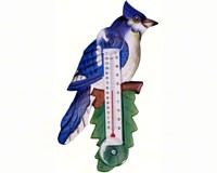Blue Jay on Branch Small Window Thermometer-SE2170721