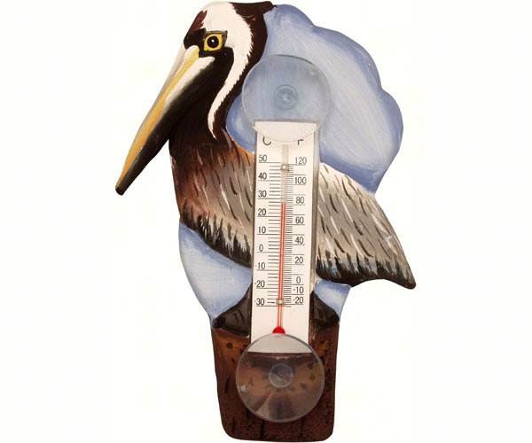 Brown Pelican on Pier Small Window Thermometer