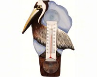 Brown Pelican on Pier Small Window Thermometer-SE2170740