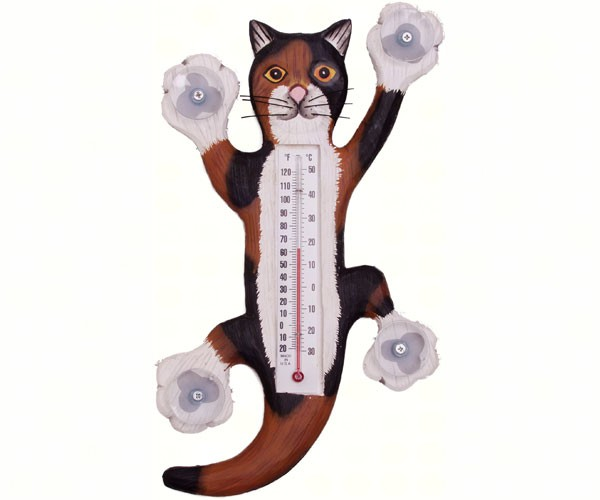 Climbing Calico Cat Small Window Thermometer