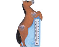 Brown Horse Rearing Small Window Thermometer-SE2174006