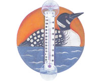 Loon in Lake Scene Small Window Thermometer SE2174007