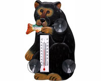 Black Bear with Trout Small Window Thermometer-SE2174008