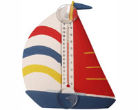 White Red & Blue Sailboat Small Window Thermometer-SE2177002