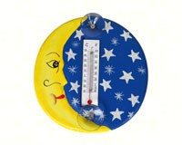 Crescent Moon & Stars Small Window Thermometer-SE2178001