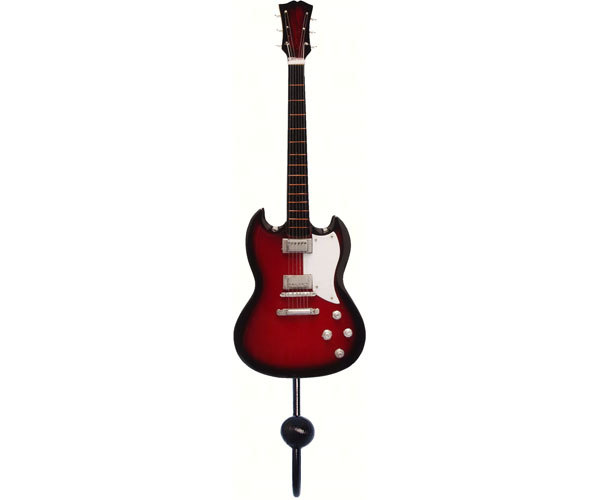 Red & Black Standard Plain Guitar Single Wallhook SE3153913'