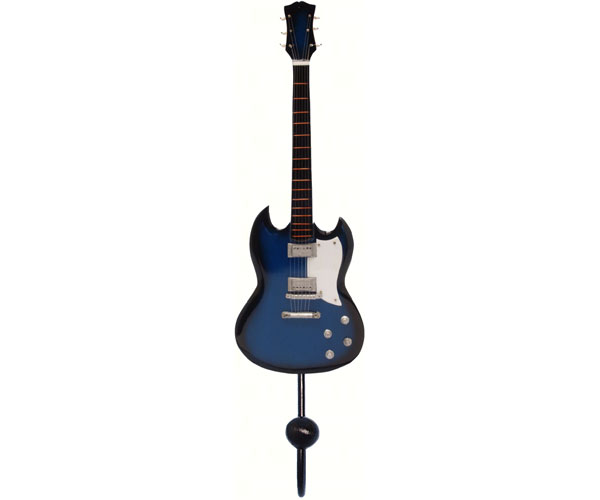 Blue & Black Standard Plain Guitar Single Wallhook SE3153914'