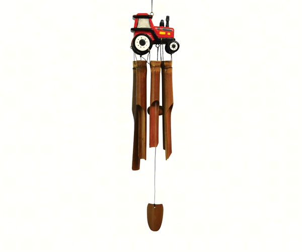 Red Tractor Bamboo Windchime SE3361023
