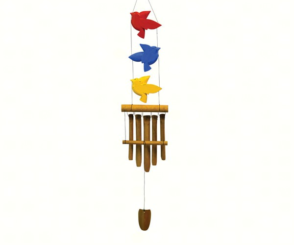 Bird Trio Red/Blue/Yellow Bamboo Chime SE3361027