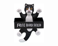 Dangling Black & White Cat Square Metal Tray bird feeder-SE3870132