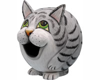 Grey Tabby Cat Gord-O Bird House-SE3880077