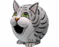 Grey Tabby Cat Gord-O Bird House SE3880077