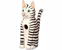 Sitting Black & White Striped Cat Bird House SE3880111