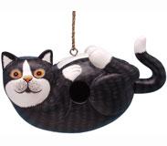 Black & White Cat on Back Bird House-SE3880193