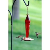 Faceted Ruby Glass Hummingbird Feeder-SE4000