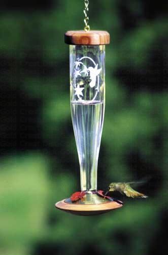 Crystal Etched hummingbird Lantern