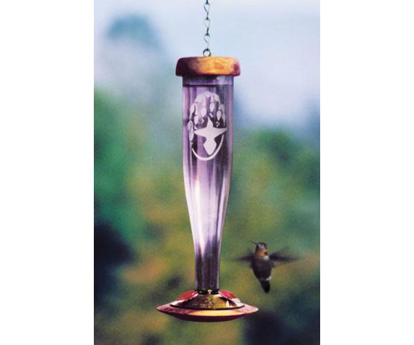 Amethyst Etched Hummingbird Lantern SE4057