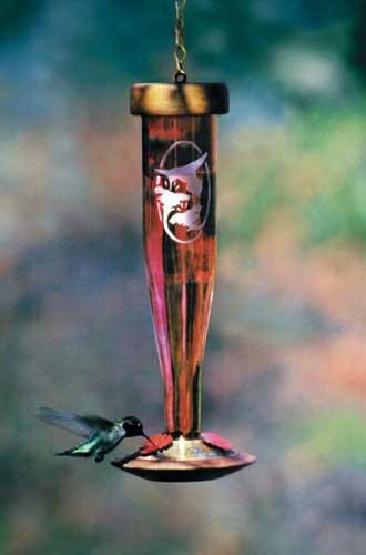 Ruby Etched Hummingbird Lantern