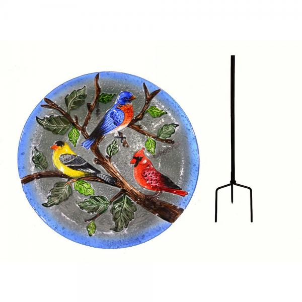 Songbird Trio Staked Bird Bath