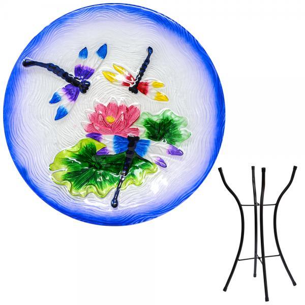 Dragonfly Trio Bird Bath with Stand