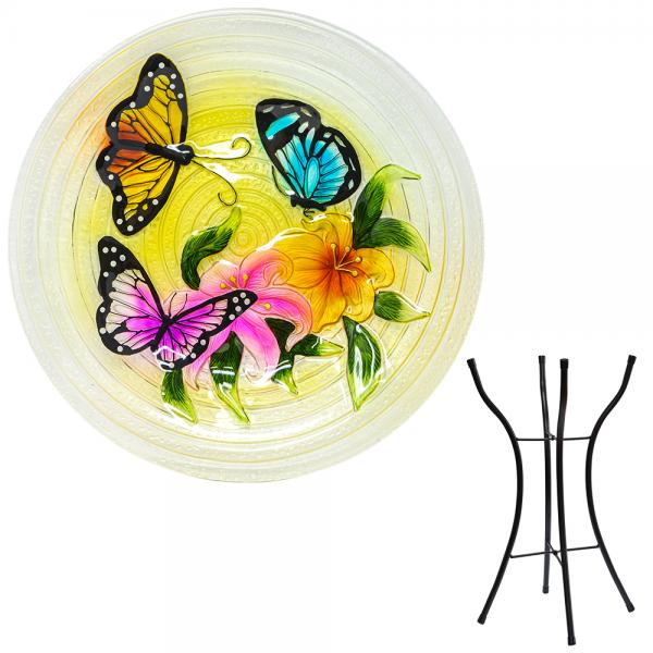 Butterfly Trio Bird Bath with Stand