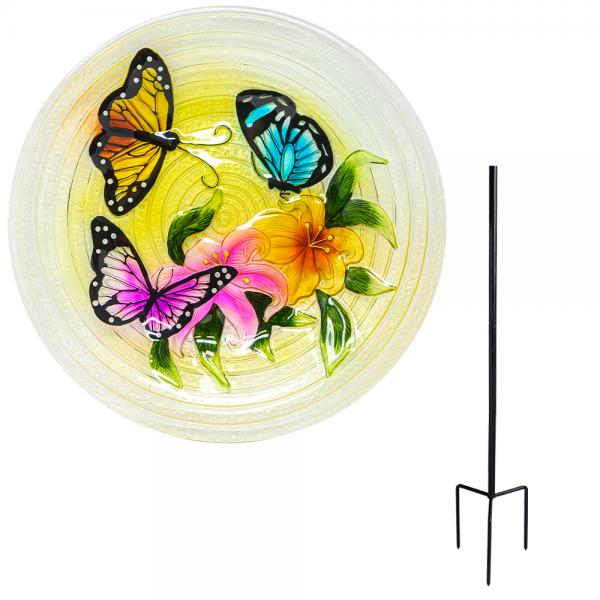 Butterfly Trio Staked Bird Bath