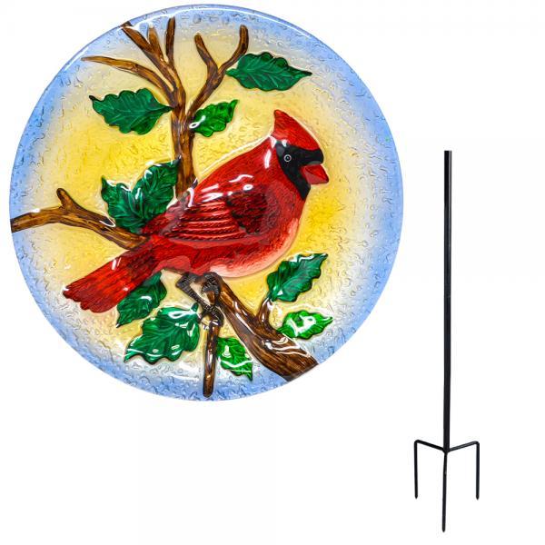 Majestic Cardinal Staked Bird Bath
