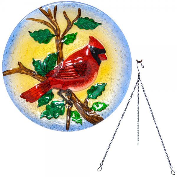 Majestic Cardinal Hanging Bird Bath