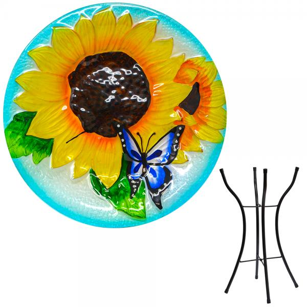 Blooming Sunflower Bird Bath with Stand