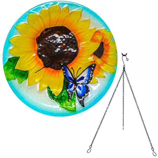 Blooming Sunflower Hanging Bird Bath