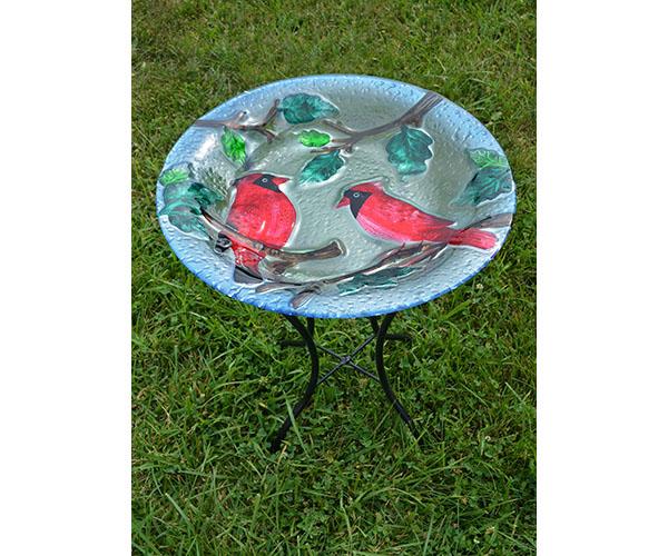 Perching Cardinals Bird Bath with Stand