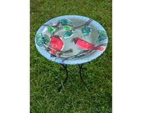 Perching Cardinals Bird Bath with Stand-SE5039