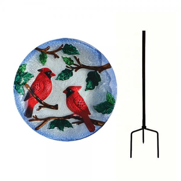 Perching Cardinals Staked Bird Bath