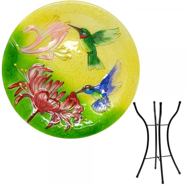 Fluttering Hummingbirds Bird Bath with Stand