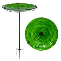 Hunter Green Glass Staked Birdbath-SE5076