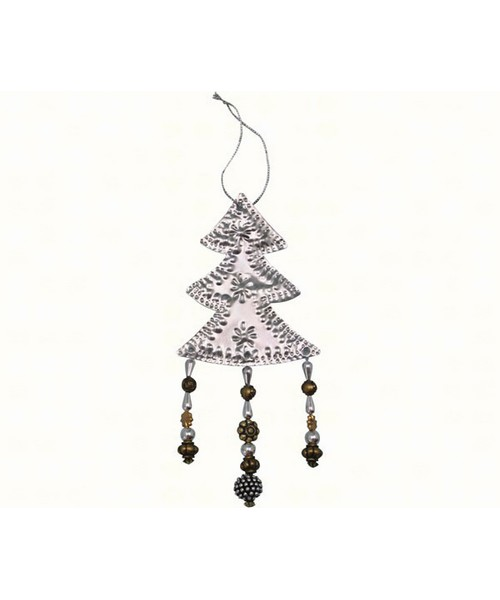 Bead Punched Metal Tree Ornament SE9140118