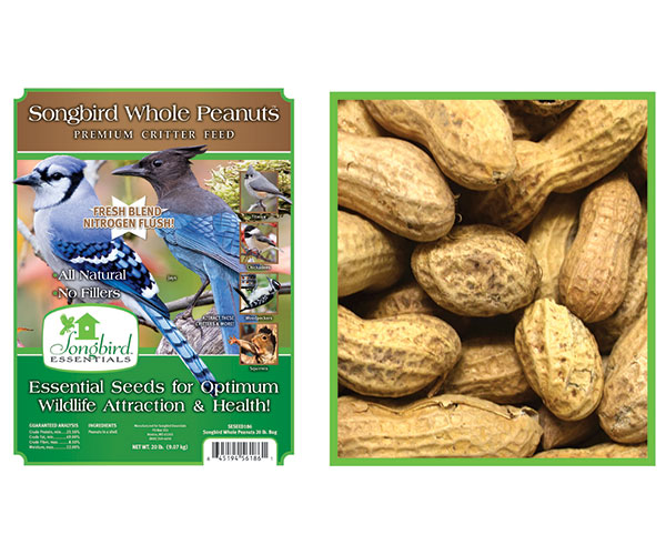 SONGBIRD WHOLE PEANUTS, 15 LB + FREIGHT