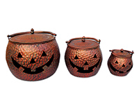 Copper Finish Pumpkin Cauldrons 3 pc set-SVHW1312C
